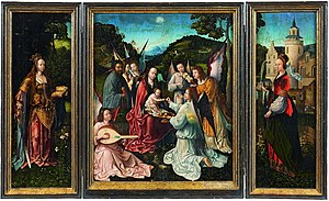 Master of Hoogstraeten - The Holy Family with Angels, St Catherine and St Barbara