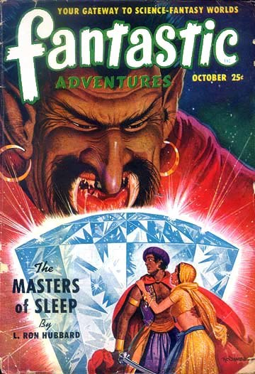 Illustrated cover of Fantastic Adventures magazine, depicting two figures hiding behind an enormous crystal as a giant leers over them