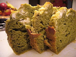 Matcha and banana bread with cream cheese.