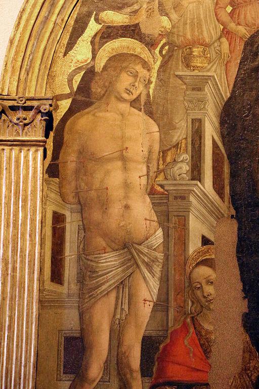 Matteo di Giovanni, Madonna col bambino e santi, 1480 circa, particolare (San Sebastiano)