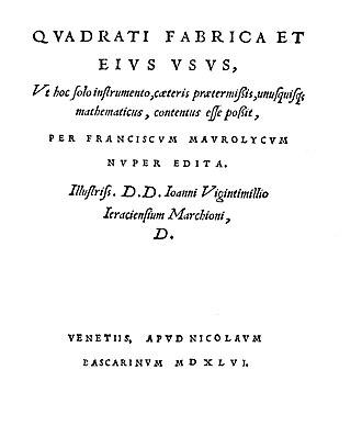 Francesco Maurolico - Quadrati fabrica et eius usus, 1546