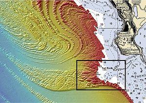 Mavericks, California - A long ramp slopes up toward the surface at Mavericks