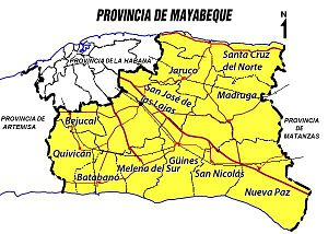 Mayabeque Province - Map of Mayabeque Province