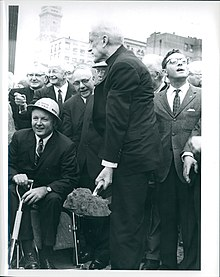 Mayor John Collins and Archbishop Richard Cardinal Cushing at ground breaking for the new city hall, circa 1963-1965