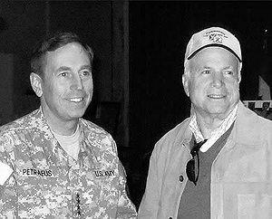 Senate career of John McCain, 2001–2014 - In Baghdad with General David Petraeus, November 2007.