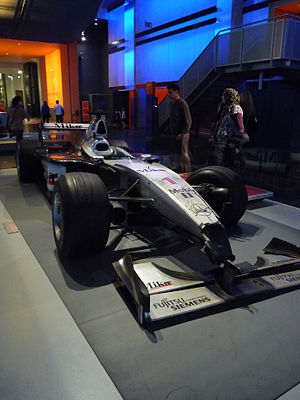 1999 German Grand Prix - Mika Häkkinen's stricken MP4/14 on display at the London Science Museum.