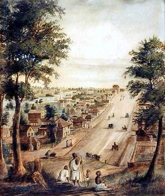 Woiwurrung - Wurundjeri near Collins Street, Melbourne, 1839. Watercolour by W. Knight