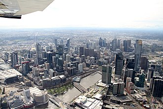 City of Melbourne - Aerial view of the Melbourne skyline