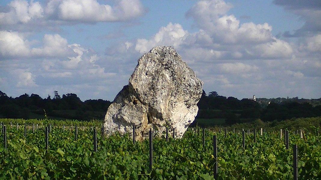 """The """"Pierre blanche"""" menhir, near Oudon, Loire-Atlantique, France."""