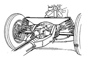 Mercedes-Benz 130 - Mercedes 130H: backbone tube chassis and rear swing arm suspension