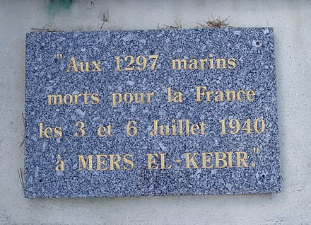 Memorial on the coast path at Toulon to the 1,297 French seamen killed at Mers El Kebir Mers el Kebir Memorial at Toulon, France.jpg