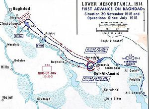 Battle of Ctesiphon (1915) - Advance and retreat from Ctesiphon, 1915.