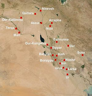 Uruk - A map of Mesopotamia in 2nd millennium BC, showing Nineveh, Qattara (or Karana), Dūr-Katlimmu, Assur, Arrapha, Terqa, Nuzi, Mari, Eshnunna, Dur-Kurigalzu, Der, Sippar, Babylon, Kish, Susa, Borsippa, Nippur, Isin, Uruk, Larsa and Ur, from north to south.