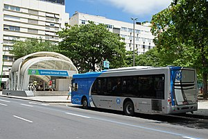 Rio de Janeiro Metro - Ipanema/General Osório Station. The bus is part of the Metrô na Superfície (Metro in Surface), the metro extension bus service.
