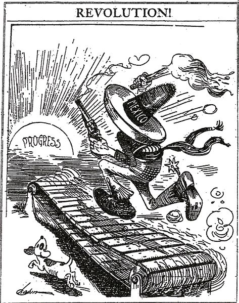 """In 1913, the San Francisco Examiner published this editorial cartoon depicting a male figure in a sombrero labeled MEXICO running fruitlessly toward """"Progress"""" wielding a pistol and an anarchist's torch. (via Wikimedia Commons)"""
