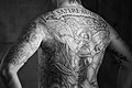 Michael and the Dragon backpiece. Black and White.jpg