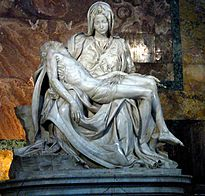 Michelangelo's Pietà shows Mary holding the dead body of Jesus.