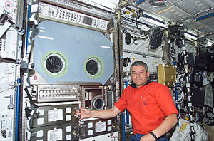 Valery Korzun - Valeri Korzun with the Microgravity Science Glovebox following its installation in the Destiny Laboratory module of the ISS.