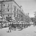 Militaire eenheid tijdens de militaire parade op 15 mei 1949 te Jeruzalem bij ge, Bestanddeelnr 255-1001.jpg
