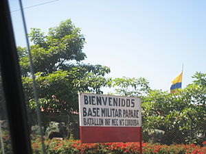 5th Mechanized Infantry Battalion (Colombia) - Entrance to Papare Military Base, home of the 5th Mechanized Infantry Battalion in Santa Marta.