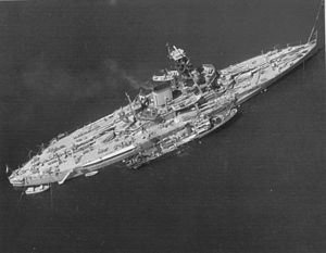 Brazilian battleship Minas Geraes - Ariel view of Minas Geraes after modernization.