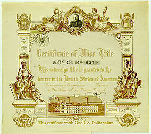 English: Certificate of the Miss title in the ...