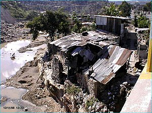 Effects of Hurricane Mitch in Honduras - Damaged house due to flooding