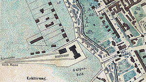 Taunus Railway - Location of the Taunusbahnhof on the western outskirts of the town of Frankfurt on an 1845 map