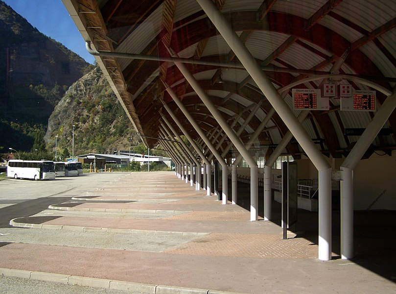 Sight of city of Moûtiers coach park and platforms (usually more active in winter) in Savoie, France.