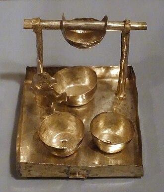 Chicha - Model tray for making chicha, Peru, Chancay-Chimu, north central coast, c. 1400 AD, silvered copper, Krannert Art Museum