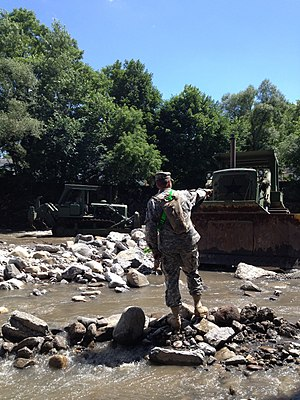 Otsquago Creek - New York Army National Guard clearing debris and widening the Otsquago Creek in Fort Plain, New York on July 5, 2013.