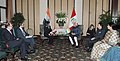 Mohd. Hamid Ansari meeting the Minister of Foreign Trade and Tourism, Mrs. Magaly Silva, in Lima, Peru. The Minister of State for Human Resource Development, Shri Jitin Prasada and other dignitaries are also seen.jpg