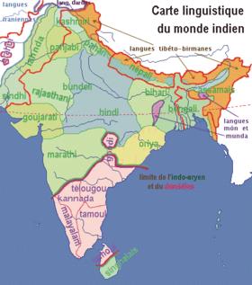 Carte des langues parlées en Inde.