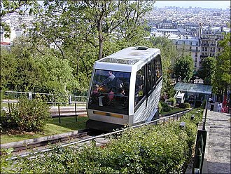 Montmartre Funicular - A cabin descending to the lower station