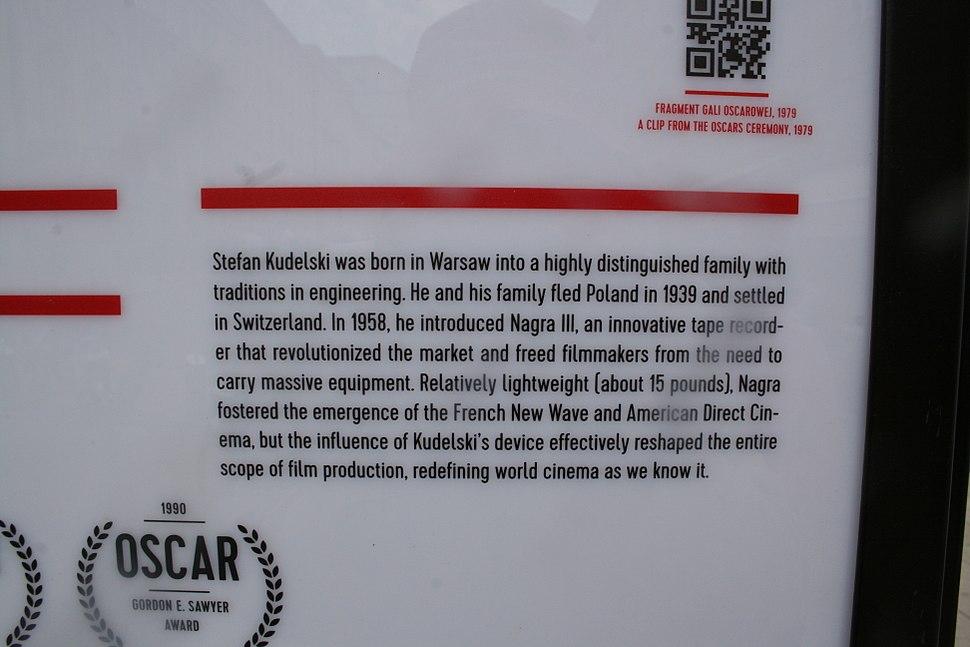 Monument to Kudelski at Polish Film Institute- detail