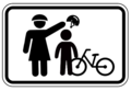 Mother Puts Helmet on Child with Bicycle - Framed Bike Safety Sign.png