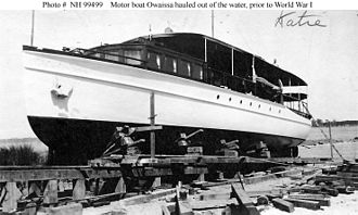 """Clerical error - The motorboat Owaissa, hauled out of the water sometime prior to her service as the United States Navy patrol vessel. The notation """"Katie"""" is a clerical error by someone who mistook the photograph for one of the motorboat Katie, which later served as the United States Navy patrol vessel"""