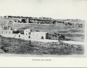 Mount Zion Cemetery, Jerusalem - In the centre of Mount Zion: Bishop Gobat School (left) and Mount Zion Cemetery (centre right), view in 1903.