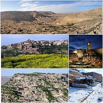 Yafran - Top: The view from the city of Yafran; Middle Left: Yellow blossom flowers blooming in spring; Middle right: Ancient church in Yafran; Bottom left: The ancient ruin town of Yafran Bottom right: The houses in Yafran covered with snow