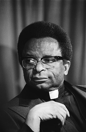 Bishop Abel Muzorewa, the country's first black Prime Minister, whose unrecognised government revoked UDI in 1979 as part of the Lancaster House Agreement Muzorewa 1978 b.jpg