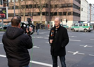 N24 (Germany) - N24 reporter Steffen Schwarzkopf in Cologne, reporting about the collapse of the Historical Archive of the City of Cologne