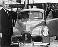 NAA A1200 L84254 Ben Chifley at the launching of the first mass-produced Australian car 1948.jpg
