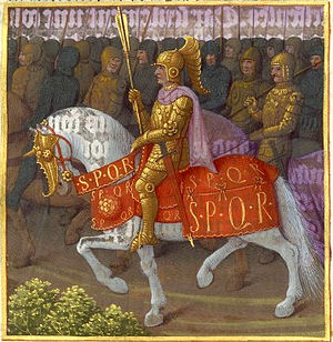 Vespasian - Vespasian leading his forces against the Jewish revolt, a miniature in a 1470 illuminated manuscript version of the history of Josephus