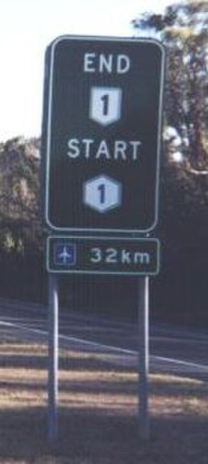 Metroad - National Route 1 ends and Metroad 1 begins at Waterfall on the southern outskirts of Sydney.