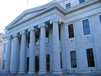 New York Court of Appeals - A view of the courthouse's neoclassical portico