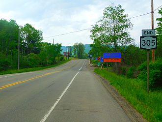 New York State Route 305 - NY 305 approaching the Pennsylvania state line. PA 446 can be seen in the background