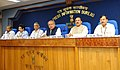Narendra Singh Tomar and the Minister of State for Culture and Tourism (Independent Charge), Dr. Mahesh Sharma at a joint Press Conference on Swachh Bharat Mission, in New Delhi.jpg