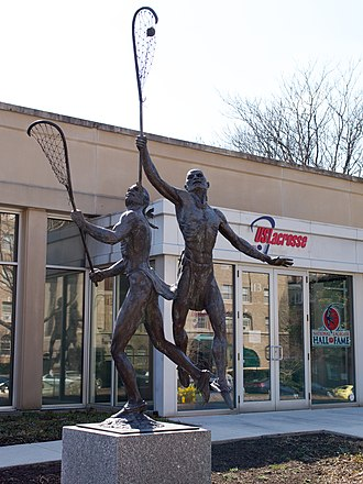 Lacrosse Museum and National Hall of Fame - Native American statue in front of museum.