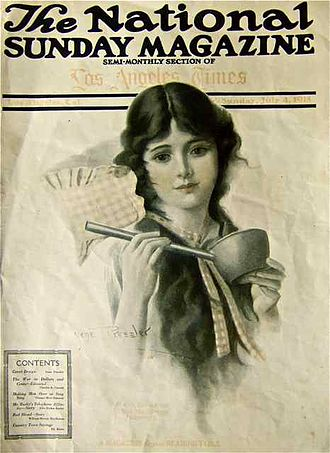 Sunday magazine - Gene Pressler cover for The National Sunday Magazine (Los Angeles Times, July 4, 1915).