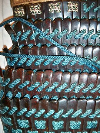 Lamellar armour - Close up view of Japanese lamellar armour, constructed with small individual scales/lamellae known as kozane.